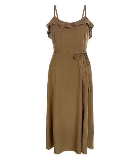 Khaki Frill Trim Tie Waist Split Side Midi Dress  | New Look