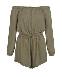 Khaki Bardot Neck Long Sleeve Playsuit  | New Look