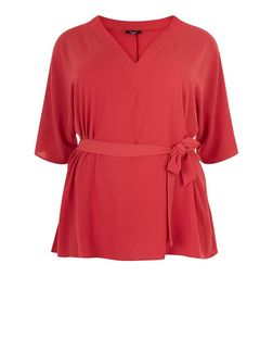 Curve Red Tie Waist Wide Sleeve Top | New Look