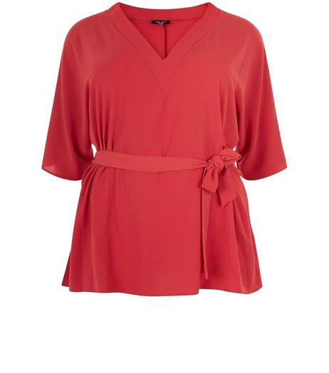 Curves Red Tie Waist Wide Sleeve Top | New Look