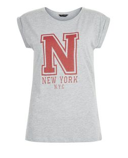Grey New York Roll Sleeve T-Shirt  | New Look