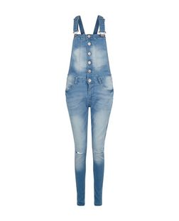 Parisian Blue Button Front Dungarees | New Look