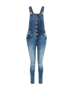 Parisian Dark Blue Button Front Dungarees | New Look