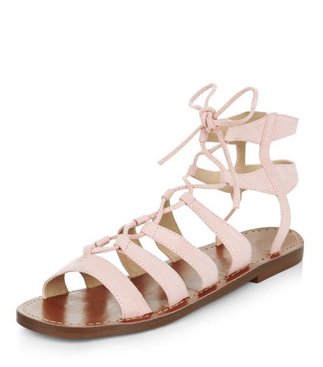 Pink Suedette Ghillie Sandals  | New Look