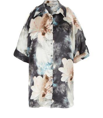 parisian-blue-floral-print-satin-cold-shoulder-shirt