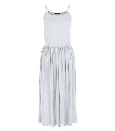 Grey Strappy Pleated Midi Skater Dress  | New Look