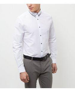 White Contrast Collar Long Sleeve Shirt  | New Look