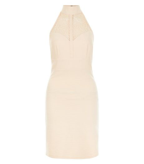 Shell Pink Ribbed Lace Panel Funnel Neck Dress  | New Look