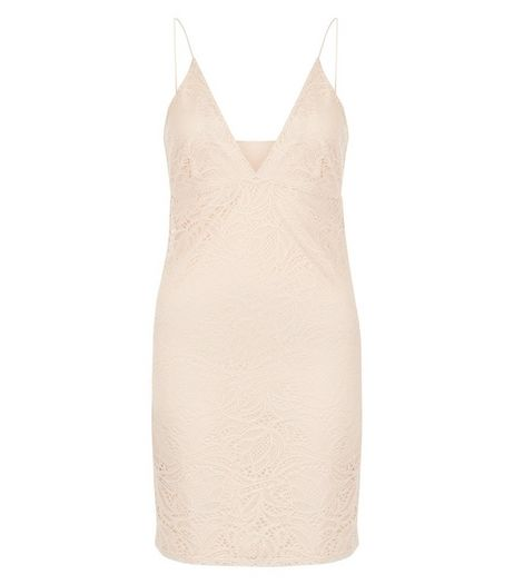 Shell Pink Lace Plunge V Neck Bodycon Mini Dress  | New Look