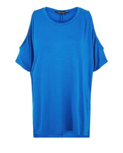 Blue Cold Shoulder Oversized T-Shirt  | New Look