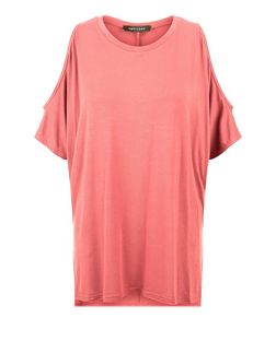 Peach Cold Shoulder Oversized T-Shirt  | New Look