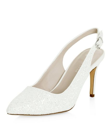 Wide Fit White Bridal Glitter Sling Back Heels  | New Look