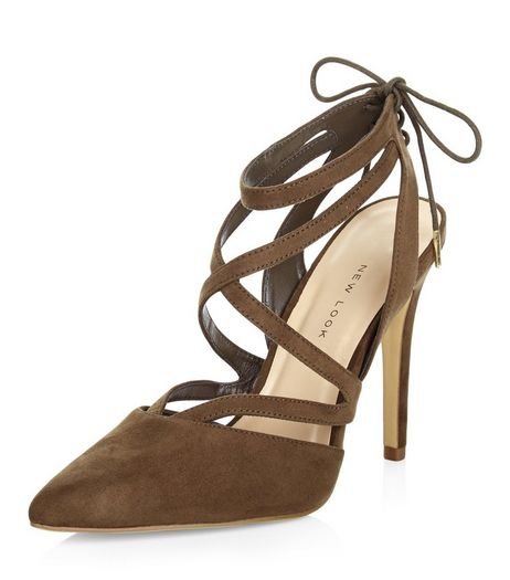 Wide Fit Khaki Suedette Multi Strap Pointed Heels  | New Look