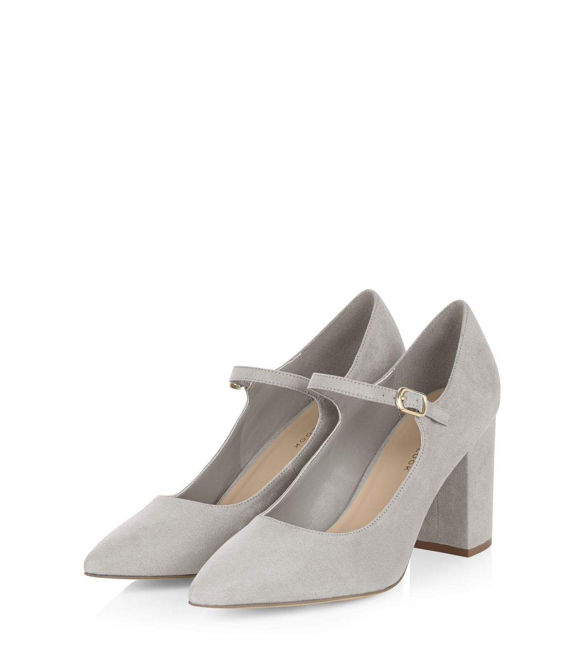 Wide Fit Grey Pointed Mary Jane Block Heels  | New Look