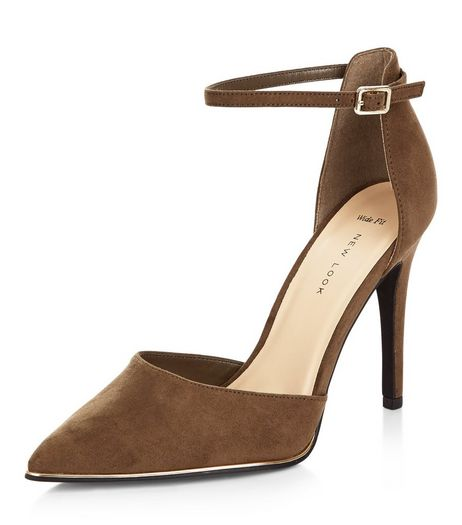 Wide Fit Khaki Suedette Ankle Strap Pointed Heels | New Look