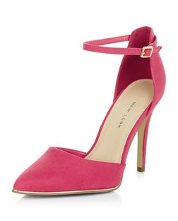 Wide Fit Bright Pink Suedette Ankle Strap Pointed Heels | New Look