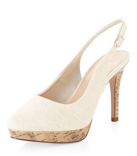 Wide Fit Cream Canvas Contrast Sling Back Heels  | New Look