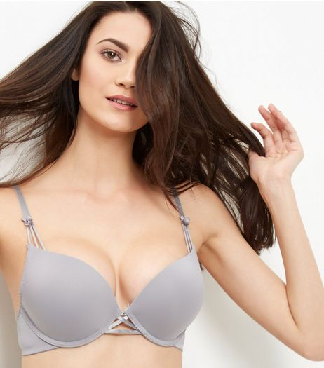 Grey Cross Strap Boost Bra  | New Look