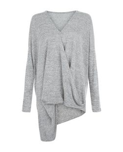 Cameo Rose Grey Long Sleeve Wrap Top | New Look