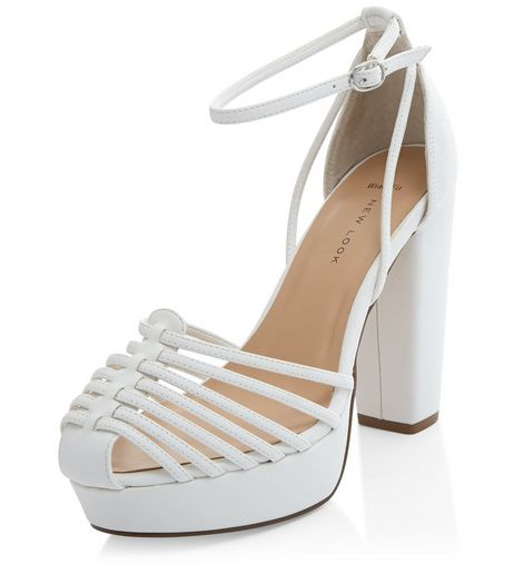 Wide Fit White Gladiator Panel Platform Heels  | New Look