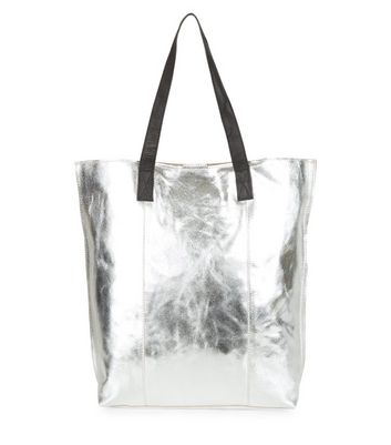 Silver Leather Metallic Shopper Bag