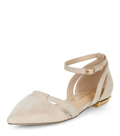Wide Fit Stone Suedette Pointed Ankle Strap Pumps  | New Look