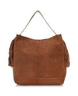 Tan Premium Leather Textured Tassel Side Shoulder Bag  | New Look