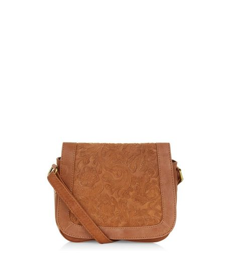 Tan Premium Leather Abstract Textured Saddle Bag  | New Look