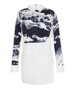 AX Paris White Abstract Print Panel Shirt Dress | New Look
