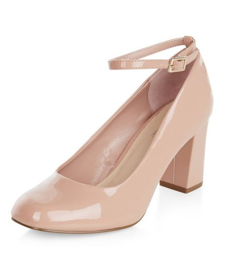 Wide Fit Nude Comfort Mary Jane Block Heels  | New Look