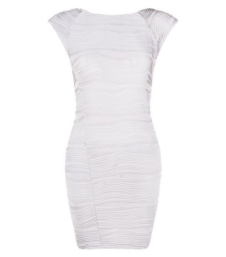 AX Paris Silver Textured Bodycon Dress | New Look