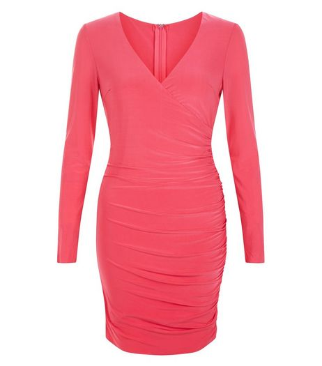 AX Paris Pink Long Sleeve Wrap Dress  | New Look