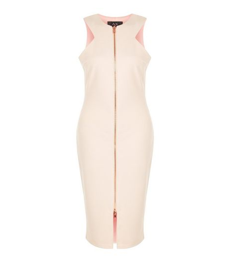 AX Paris Cream Zip Front Midi Dress | New Look