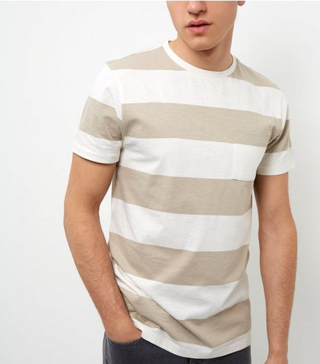 Stone Single Pocket Wide Stripe Slub T-Shirt  | New Look