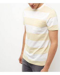 Yellow Single Pocket Wide Stripe Slub T-Shirt  | New Look