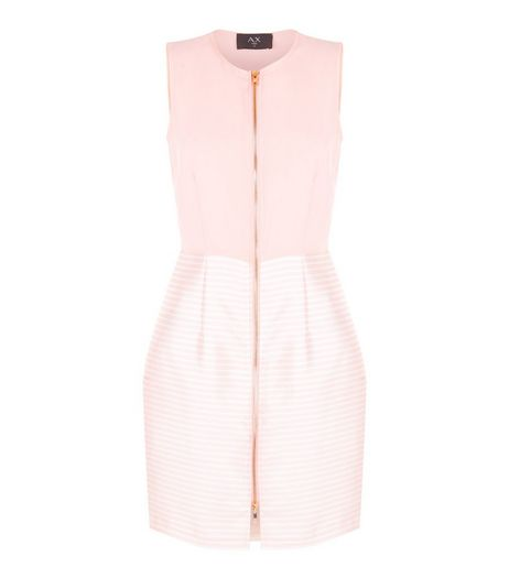 AX Paris Pink Stripe Print Zip Front Dress | New Look