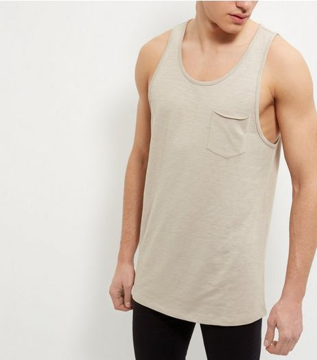 Stone Single Pocket Slub Vest  | New Look