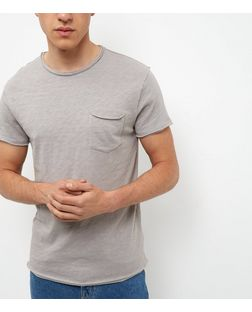 Grey Single Pocket Raw Trim Slub T-Shirt  | New Look