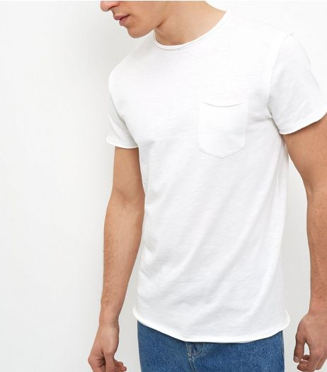 White Single Pocket Raw Trim Slub T-Shirt  | New Look
