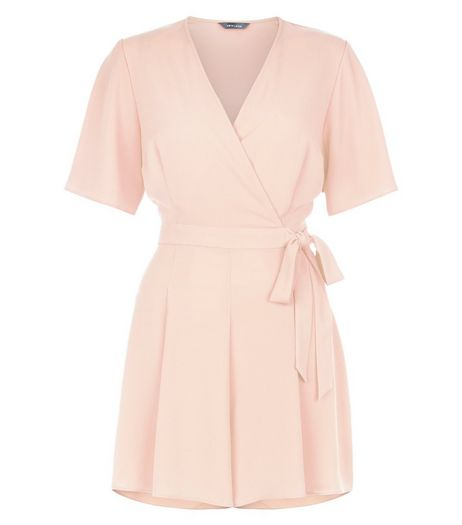 Shell Pink Wide Sleeve Tie Waist Playsuit  | New Look