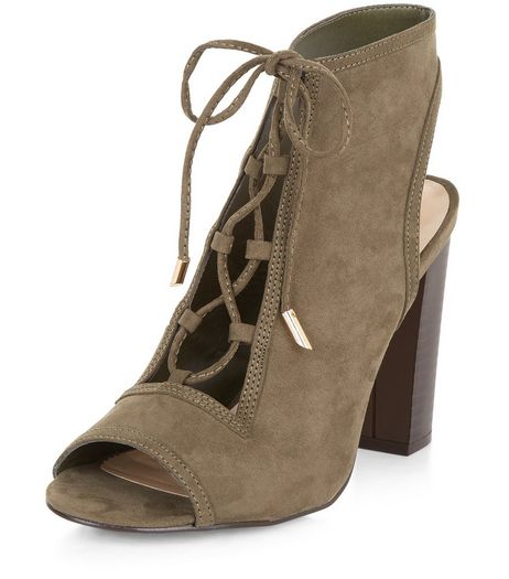 Khaki Suedette Peep Toe Ghillie Block Heels | New Look