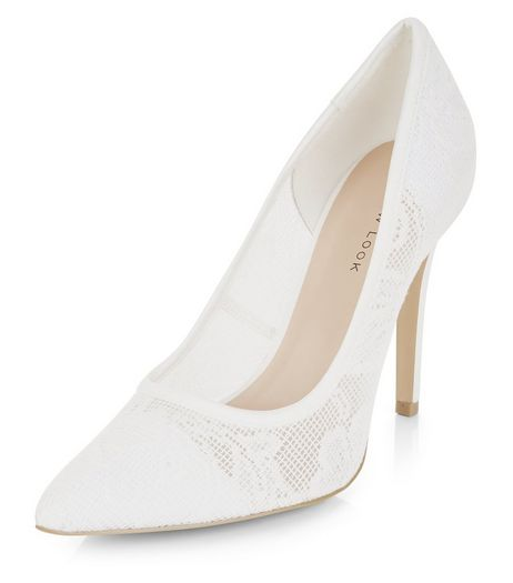 Cream Lace Pointed Heels  | New Look