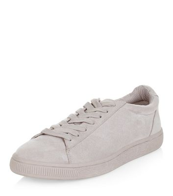 Grey Suedette Trainers  | New Look