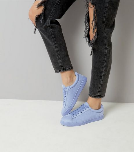 Blue Suedette Trainers | New Look