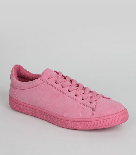 Bright Pink Suedette Trainers  | New Look
