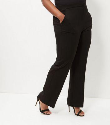 Curves Black Bistretch Wide Leg Trousers