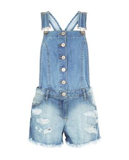 PAR Parisian Blue Button Front Short Dungarees | New Look