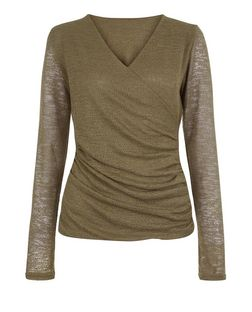 Blue Vanilla Khaki Wrap Long Sleeve Top | New Look
