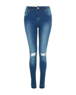 Parisian Blue Raw Hem Ripped Knee Skinny Jeans | New Look