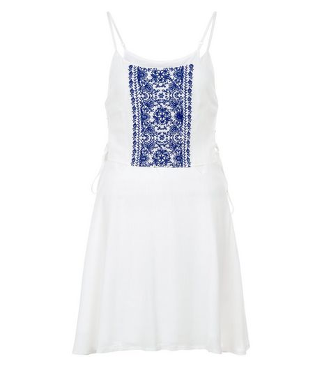 Parisian White Embroidered Lace Up Side Dress | New Look